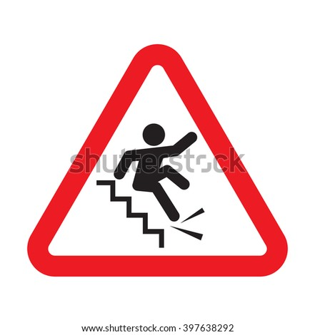 Warning falling off the stairs sign - stock vector