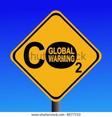 warning Global warming CO2 emissions sign illustration - stock vector