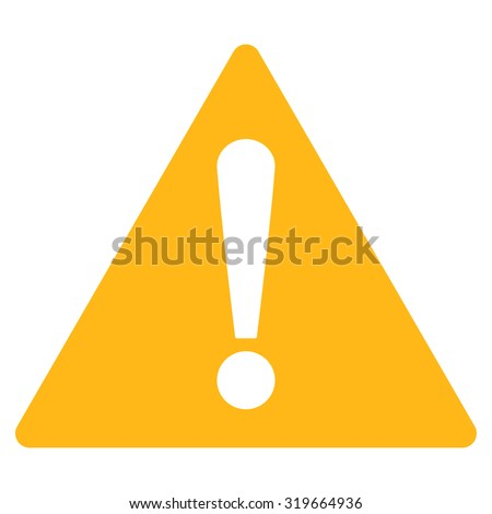 Warning icon from Primitive Set. This isolated flat symbol is drawn with yellow color on a white background, angles are rounded. - stock vector