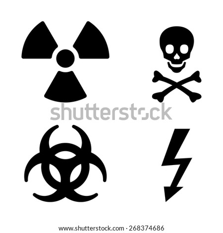 Warning icon set - stock vector