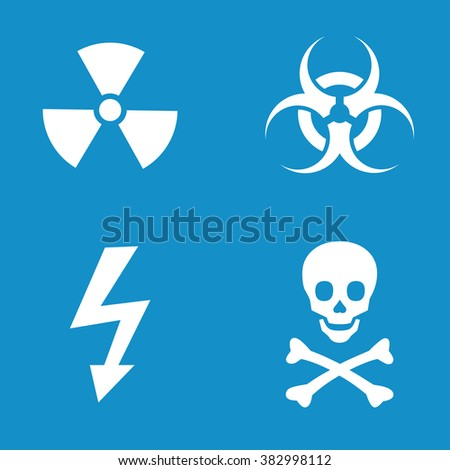 Warning icon set . Radiation , biohazard , high voltage and skull and bones warning sign . Vector illustration - stock vector