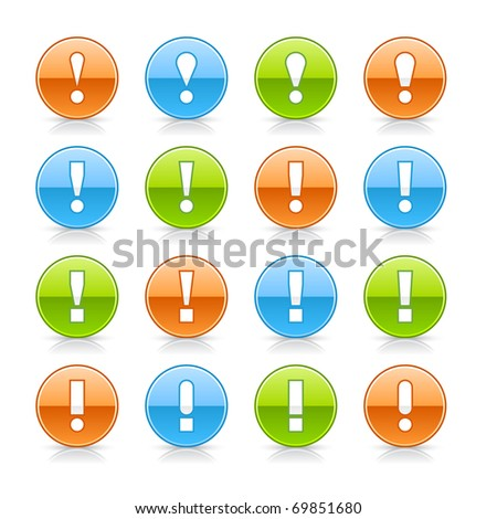 Warning icon web 2.0 button with exclamation mark. Glossy round shape with shadow and reflection on white - stock vector