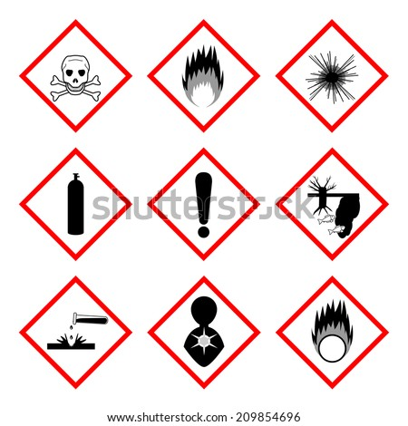 Warning labels of chemicals - icon set, 2d illustration, isolated on white background, vector, eps8 - stock vector