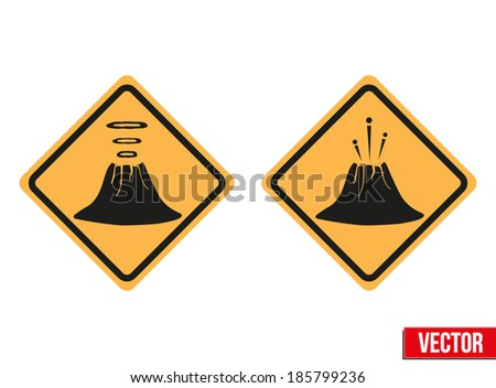 Warning road signs about the dangers of the volcano Yellowstone. - stock vector