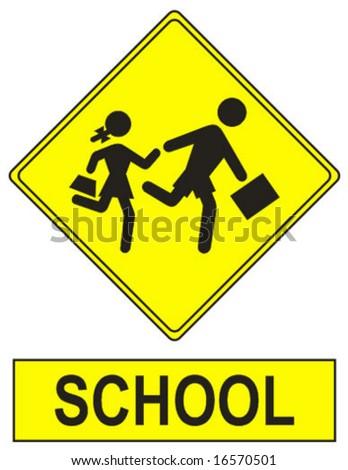 warning school sign - stock vector
