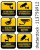 Warning set Sticker for Security Alarm CCTV Camera Surveillance - stock vector