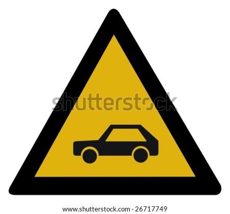 Warning sign - car - stock vector
