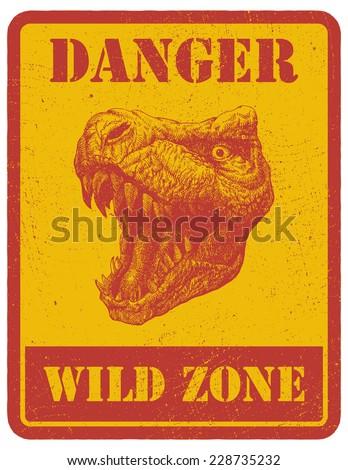 warning sign. danger signal with dinosaur. vector eps 8 - stock vector