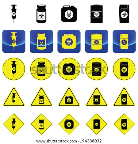 Warning sign for bio hazard in syringe and containers vector on button and many types of yellow circle, triangles and square sign - stock vector