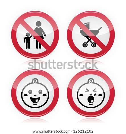 Warning sign: no babies, no children - stock vector