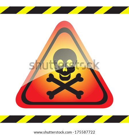 Warning sign of poison on a triangular table.Vector.