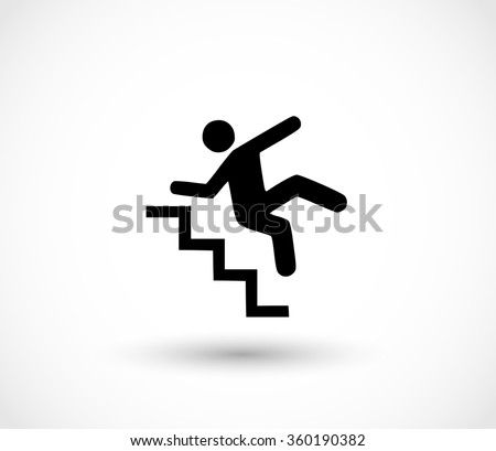 Warning sign - risk of falling of the stairs vector - stock vector