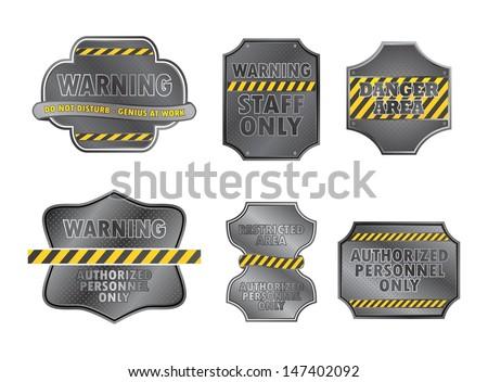 warning sign set - stock vector