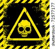 Warning sign with a skull about the dangers - stock vector