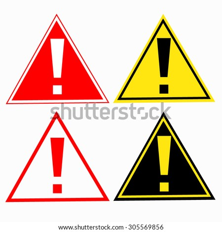 warning sign with exclamation mark symbol - vector - stock vector