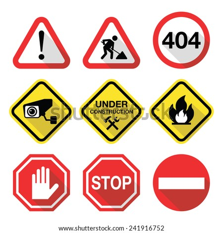 Warning signs - danger, risk, stress - flat design - stock vector