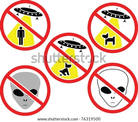 warning signs for aliens. vector illustration - stock vector