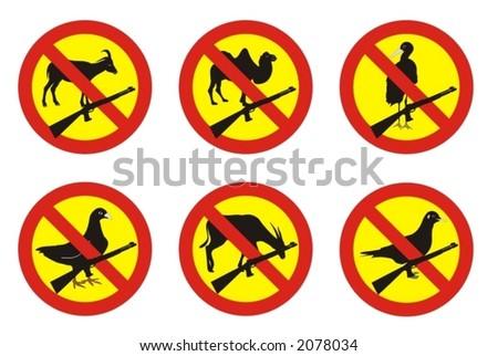 warning signs - no shooting at animals - vector illustration - stock vector