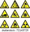 warning signs set explosive acid slippery truck construction site slippery radioactive ice and hazard - stock
