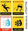 Warning signs - Slippery ice, caution - wet snow, sleet. Yellow and black vector icons. Danger. The falling man. Car skidded off the road. - stock vector