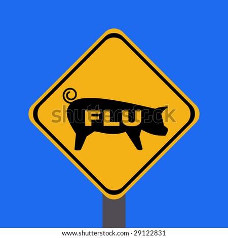 warning swine flu sign on blue illustration - stock vector