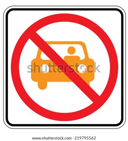 Warning traffic sign, NO PARKING (yellow car) - stock vector