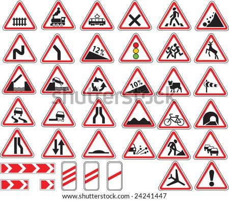 Warning traffic signs - stock vector