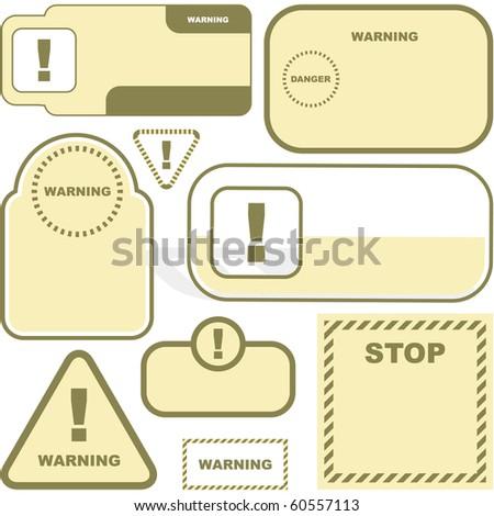 Warning vector label. Vector template. - stock vector