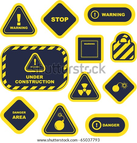 Warning vector signs. Great collection. - stock vector