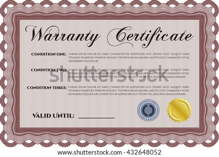 Warranty Certificate. Detailed. Printer friendly. Complex design.