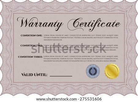 Sample Warranty Certificate Template Sample Text Stock Vector
