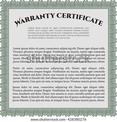 Warranty Certificate template. Detailed. Cordial design. Easy to print.