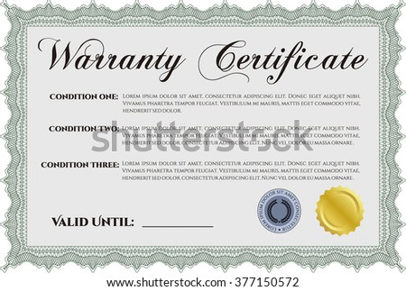 Warranty Certificate template. Detailed. Easy to print. Cordial design.