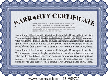 Warranty Certificate template. Nice design. Easy to print. Detailed.  - stock vector