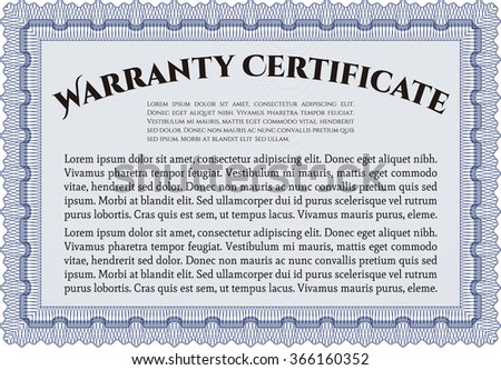 Warranty Certificate template. Perfect style. Easy to print. Complex design.  - stock vector