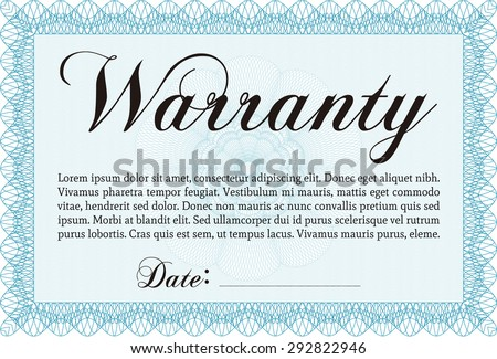 Warranty Certificate template. Retro design. Complex border. Easy to print.  - stock vector