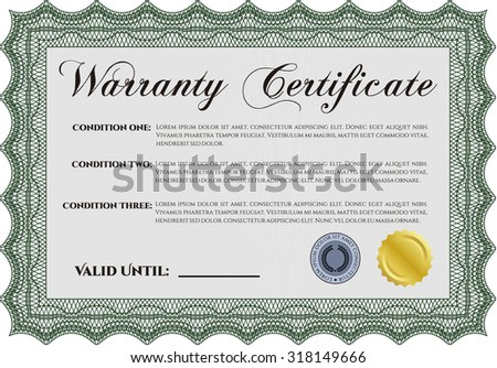 Warranty Certificate. Very Detailed. Easy to print. With sample text.