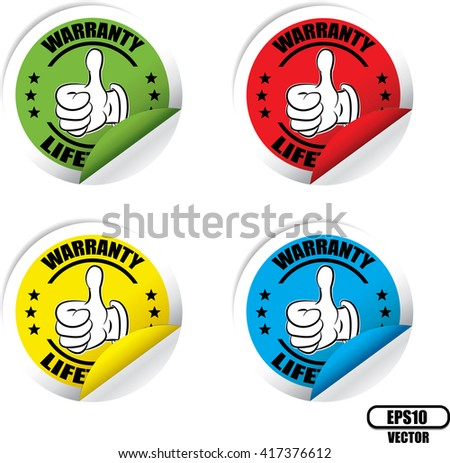 Warranty Colorful Label, Sticker, Tag, Sign And Icon Banner Business Concept, Design Modern. Vector illustration. - stock vector