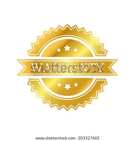 Warranty golden label - stock vector