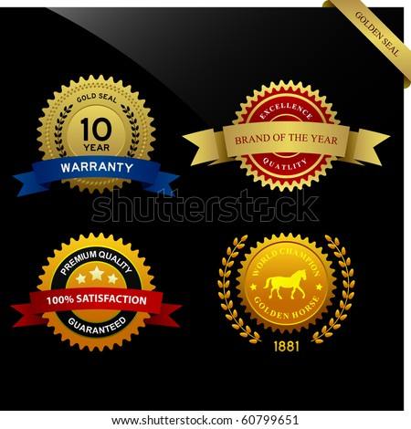 Warranty Guarantee Gold Seal Ribbon Vintage Award - stock vector