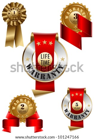 Warranty Lebel Set - stock vector
