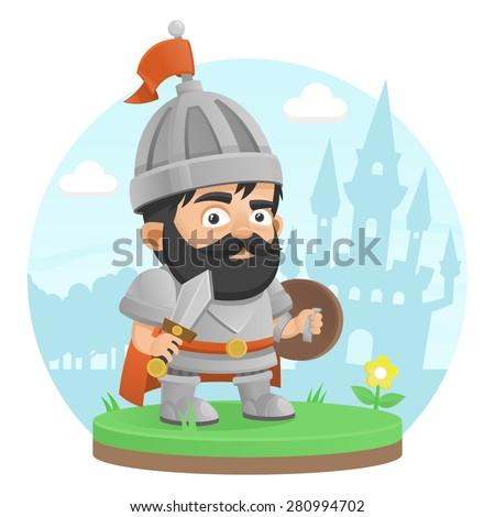 Warrior character castle legend - stock vector