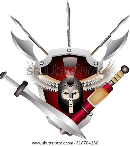 warrior head and spears and axes crossed and shield isolated on white - stock vector