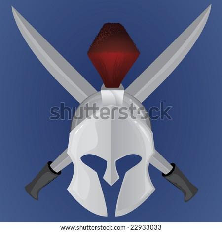 Warrior Helmet - stock vector
