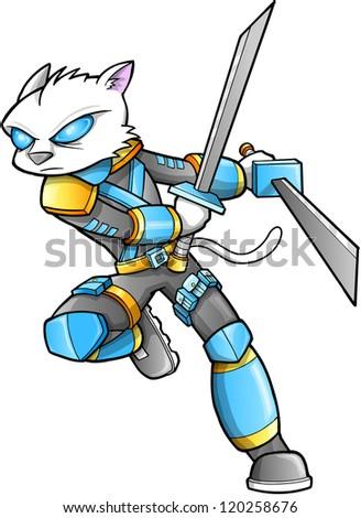 Warrior Ninja Cyborg Soldier Vector - stock vector