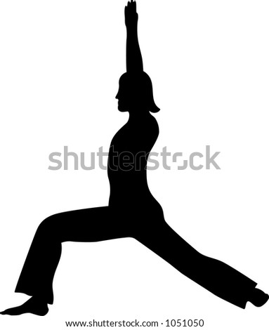 warrior one pose - stock vector