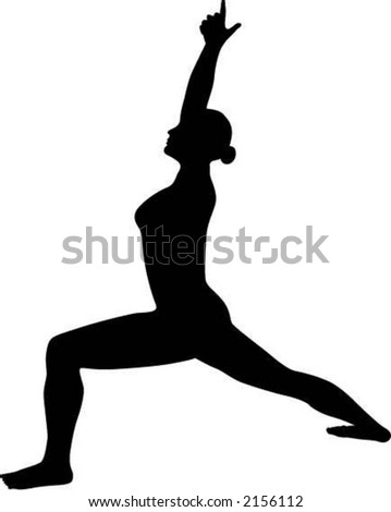 Warrior One Yoga Pose Silhouette Stock Vector 2156112 ...