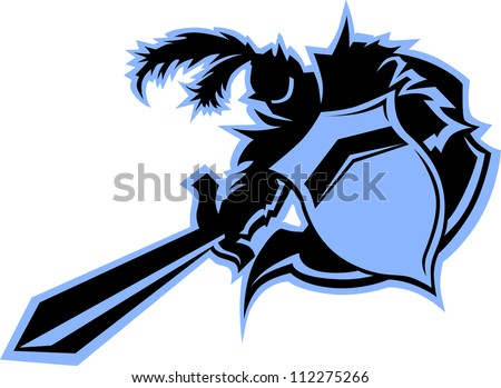 Warrior or Medieval Black Knight Vector Mascot with Shield - stock vector