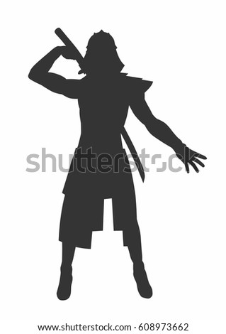 Female Piper Playing Silhouette Stock Vector 43188130