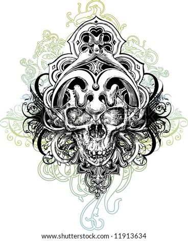 Warrior skull vector illustration - stock vector